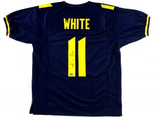 Kevin White Signed West Virginia Mountaineers Navy Custom Jersey -0