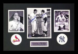 Yogi Berra & Stan Musical Signed New York Yankees Black And White Framed 8x10 Photo-0