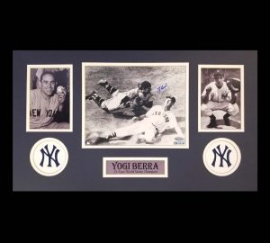Yogi Berra Signed New York Yankees Black And White Framed 8x10 Photo - Sliding Ted Williams-0