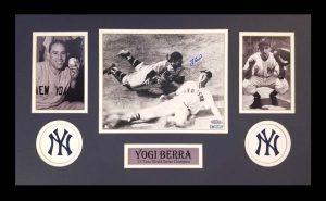 Yogi Berra Signed New York Yankees Black And White Framed 8x10 Photo - Sliding Ted Williams-0