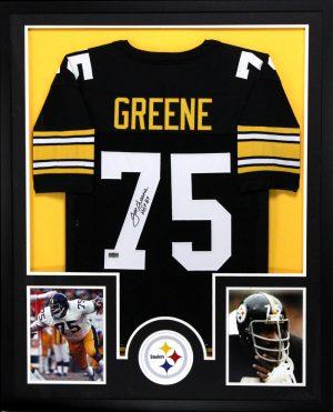 "Joe Greene Signed Pittsburgh Steelers Framed Custom Black Jersey With ""HOF 87"" Inscription-0"