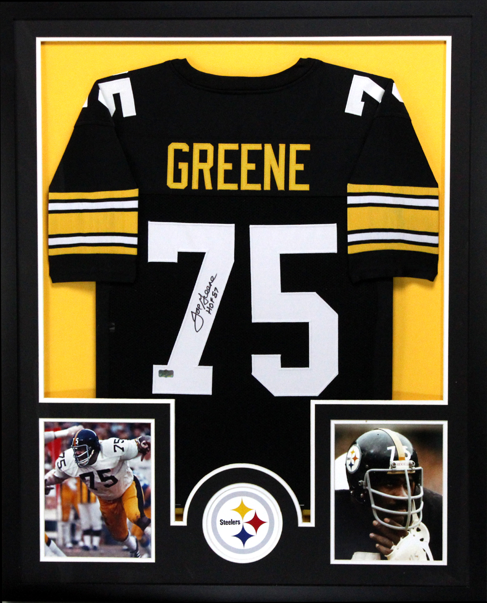separation shoes 99ab7 9e903 Joe Greene Signed Pittsburgh Steelers Framed Custom Black Jersey With