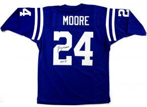 "Lenny Moore Singed Indianapolis Colts Blue Custom Jersey With ""HOF 75"" Inscription -0"