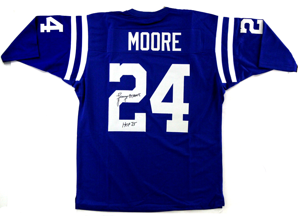 Lenny Moore Singed Indianapolis Colts Blue Custom Jersey With