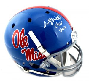 "Wesley Walls Signed Ole Miss Rebels Schutt Powder Blue Helmet With ""CHOF 2014"" Inscription-0"