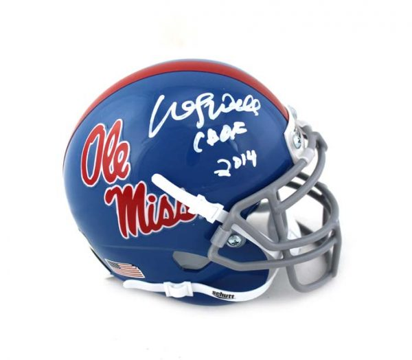 "Wesley Walls Signed Ole Miss Rebels Schutt NCAA Mini Helmet With ""CHOF 2014"" Inscription -0"
