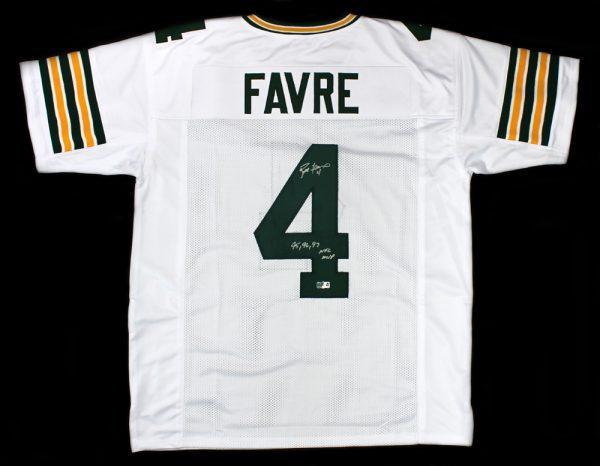 """Brett Favre Signed Green Bay Packers White Custom Jersey With """"95, 96, 97 NFL MVP"""" Inscription-0"""
