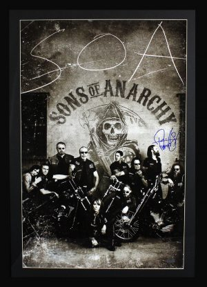 """Ryan Hurst Signed Sons Of Anarchy Framed Poster With """"Opie"""" Inscription - 10 Characters-0"""