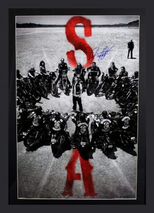 "Ryan Hurst Signed Sons Of Anarchy Circle of Bikes Framed Poster With ""Opie"" Inscription -0"
