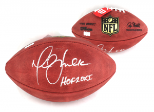 "Marshall Faulk Signed NFL Authentic Football with ""HOF 20XI"" Inscription - Los Angeles Rams-0"