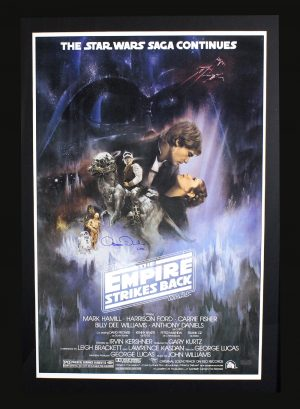 "Anthony Daniels Signed Star Wars The Empire Strikes Back Framed Poster With ""C-3PO"" Inscription-0"