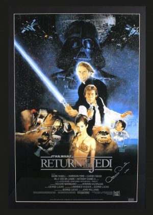 """Anthony Daniels Signed Star Wars Return Of The Jedi Framed Poster With """"C-3PO"""" Inscription-0"""