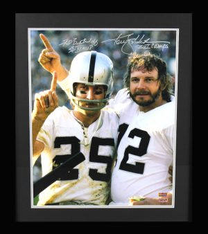 "Ken Stabler & Fred Biletnikoff Signed Oakland Raiders Framed Color 16x20 Photo With ""MVP"" And ""Champs"" Inscriptions-0"