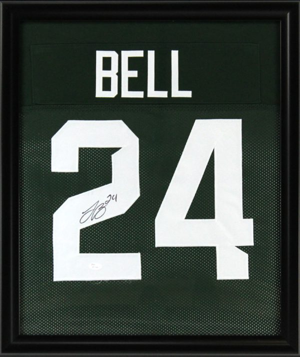 LeVeon Bell Signed Michigan State Spartans Framed Green Custom Jersey-0
