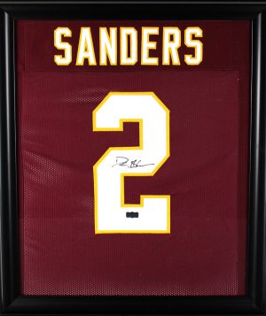 Deion Sanders Signed Florida State Seminoles Framed Maroon Custom Jersey-0