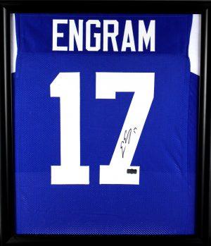 Evan Engram Signed Ole Miss Rebels Framed Blue Custom Jersey-0