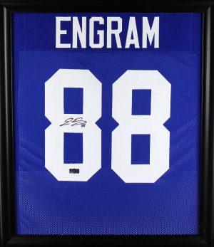 Evan Engram Signed New York Giants Framed Blue Custom Jersey-0