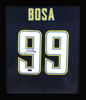 Joey Bosa Signed Los Angeles Chargers Framed Navy Blue Custom Jersey-0