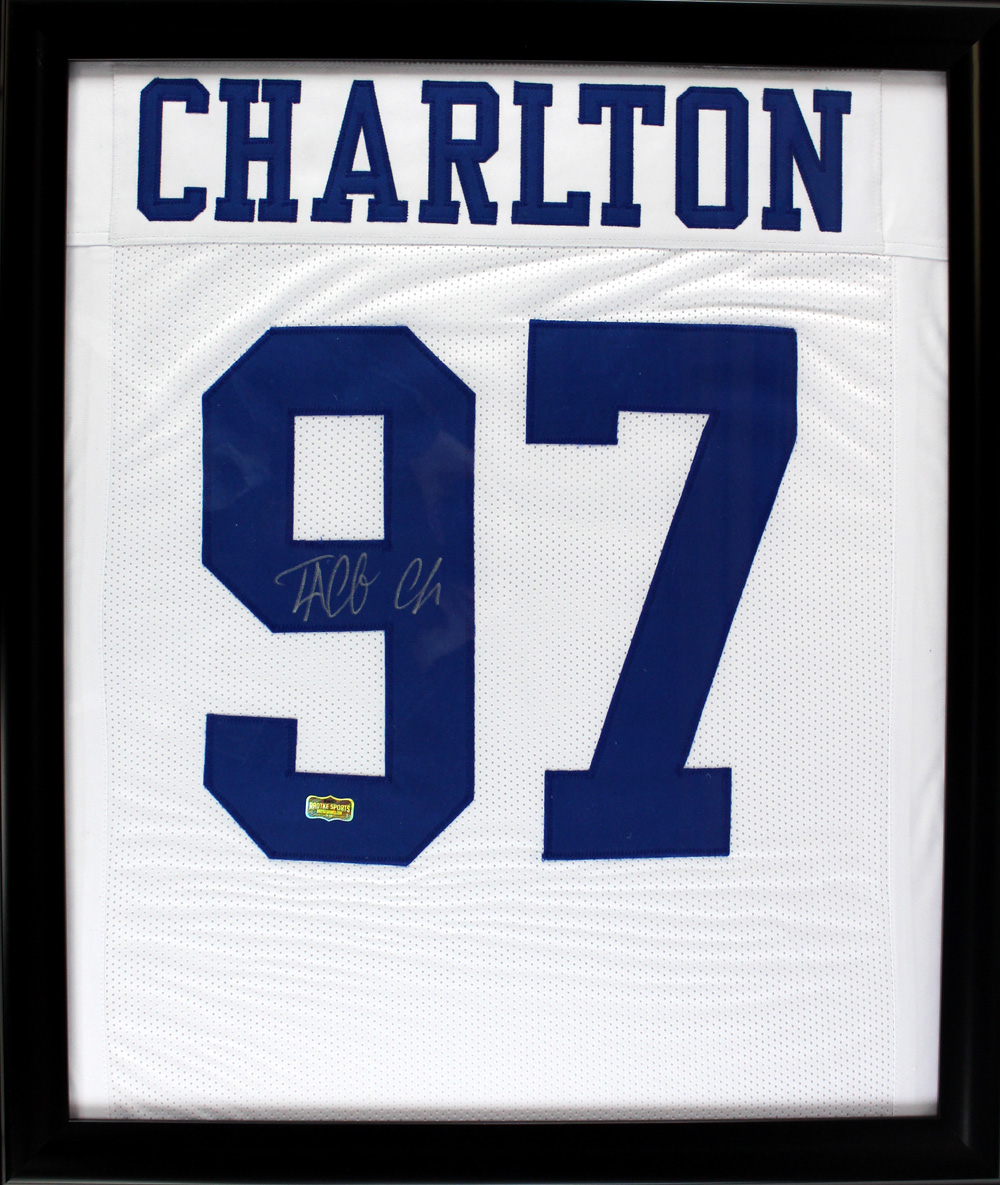 low priced 0e908 a9295 Taco Charlton Signed Dallas Cowboys Framed White Custom Jersey