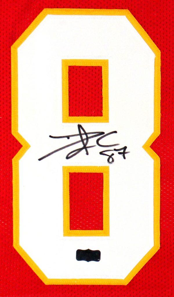 Travis Kelce Signed Kansas City Chiefs Framed Red Custom Jersey-26678