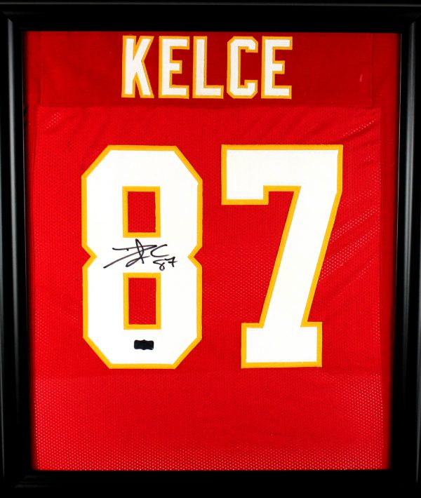 Travis Kelce Signed Kansas City Chiefs Framed Red Custom Jersey-0