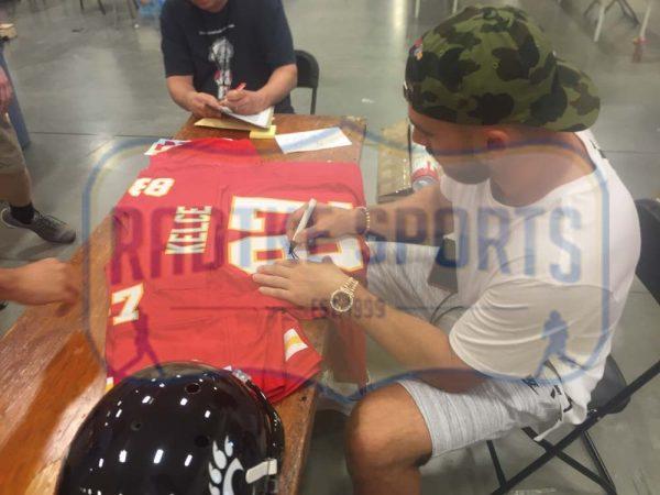 Travis Kelce Signed Kansas City Chiefs Framed Red Custom Jersey-26680