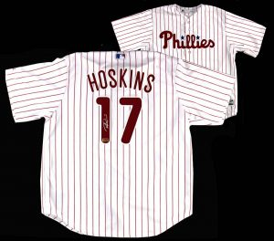 Rhys Hoskins Signed Philadelphia Phillies White Majestic Authentic Jersey -0