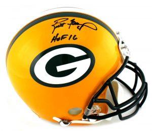 """Brett Favre Signed Green Bay Packers Riddell Authentic Full Size NFL Helmet With """"HOF 16"""" Inscription -0"""