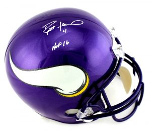 "Brett Favre Signed Minnesota Vikings Riddell Full Size NFL Helmet With ""HOF 16"" Inscription-0"