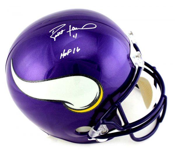 """Brett Favre Signed Minnesota Vikings Riddell Full Size NFL Helmet With """"HOF 16"""" Inscription-0"""