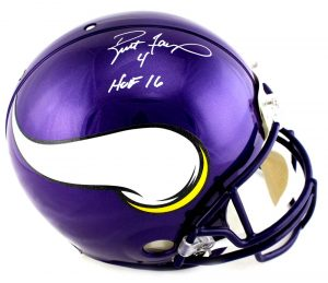 "Brett Favre Signed Minnesota Vikings Riddell Authentic Full Size NFL Helmet With ""HOF 16"" Inscription-0"