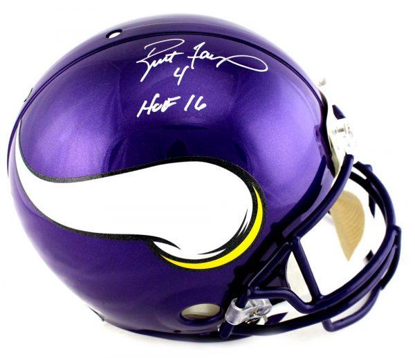 """Brett Favre Signed Minnesota Vikings Riddell Authentic Full Size NFL Helmet With """"HOF 16"""" Inscription-0"""