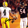 Brett Favre Signed Green Bay Packers 8x10 NFL Photo - Black Ink With Urlacher-0