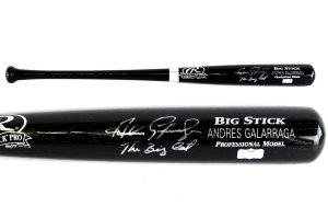 "Andres Galarraga Signed Rawlings Black Engraved MLB Bat With ""Big Cat"" Inscription - Atlanta Braves-0"