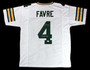 "Brett Favre Signed Green Bay Packers White Custom Jersey With ""SB XXXI Champ"" Inscription-0"