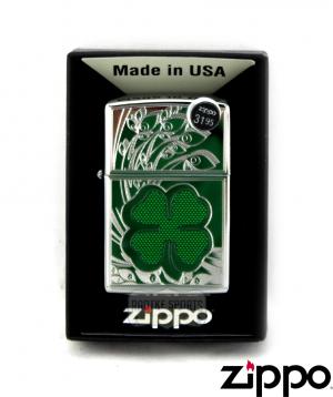 Zippo Shamrock Design High Polish Chrome Lighter-0