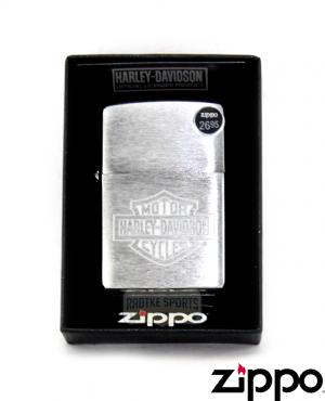 Zippo Harley-Davidson® Brushed Chrome Finish Etched Logo Lighter -0