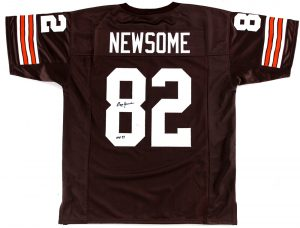 """Ozzie Newsome Signed Cleveland Browns Brown Custom Jersey With """"HOF 1999"""" Inscription-0"""