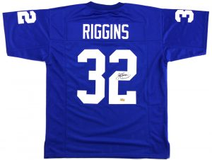 John Riggins Signed Kansas Jayhawks Blue Custom Jersey-0