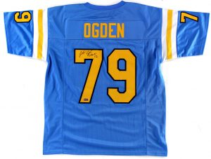 "Jonathan Ogden Signed UCLA Bruins Blue Custom Jersey With ""CHOF 2012"" Inscription-0"