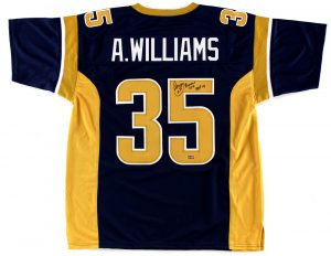 "Aeneas Williams Signed St Louis Rams Blue NFL Custom Jersey With ""HOF 2014"" Inscription-0"