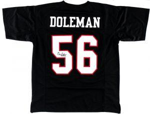 "Chris Doleman Signed Atlanta Falcons Custom Black Jersey With ""HOF 12"" Inscription-0"