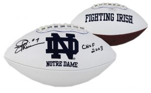 """Joe Theismann Signed Notre Dame Fighting Irish Embroidered NCAA Logo Football With """"SB XVII Champs"""" Inscription-0"""