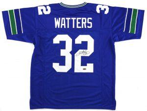 Ricky Watters Signed Seattle Seahawks Blue Custom Jersey -0