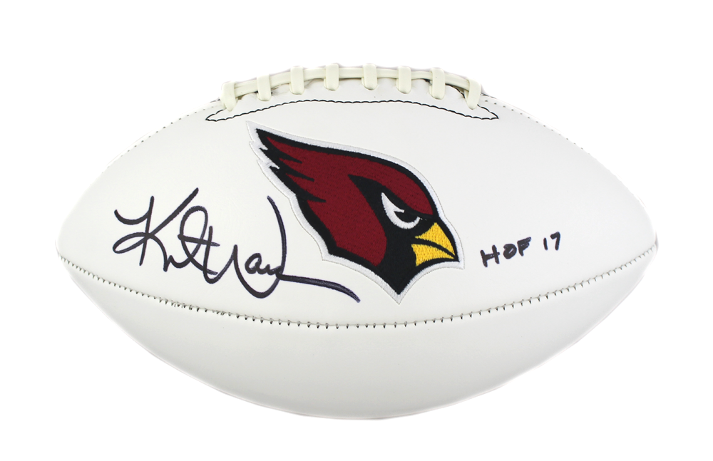 uk availability 63417 bde3c Kurt Warner Signed NFL Arizona Cardinals Embroidered Football with