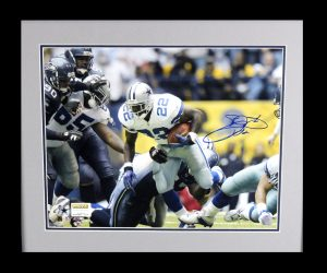 Emmitt Smith Signed Dallas Cowboys Framed 16x20 Photo - Rushing Record Shot-0