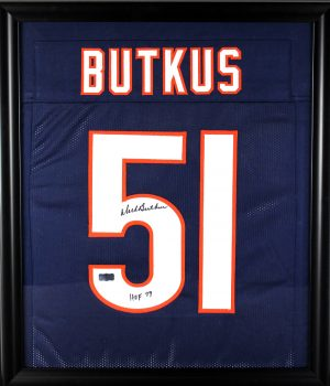 "Dick Butkus Signed Chicago Bears Framed Custom Blue Jersey With ""HOF 79"" Inscription-0"