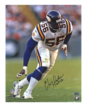 "Chris Doleman Signed Minnesota Vikings 16x20 NFL Photo - White Jersey - With ""HOF 12"" Inscription-0"