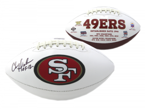 "Chris Doleman Signed San Francisco 49ers Embroidered Football With ""HOF 12"" Inscription-0"