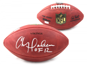"Chris Doleman Signed Minnesota Vikings Authentic Wilson Football With ""HOF 12"" Inscription -0"